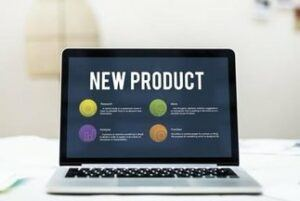 laptop showing new product